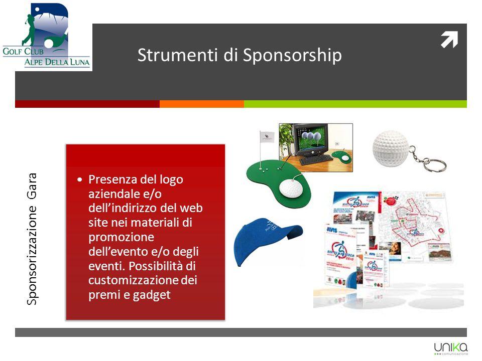 Strumenti di Sponsorship Sponsorizzazione Gara Presenza del logo aziendale e/o dellindirizzo del web site nei materiali di promozione dellevento e/o d