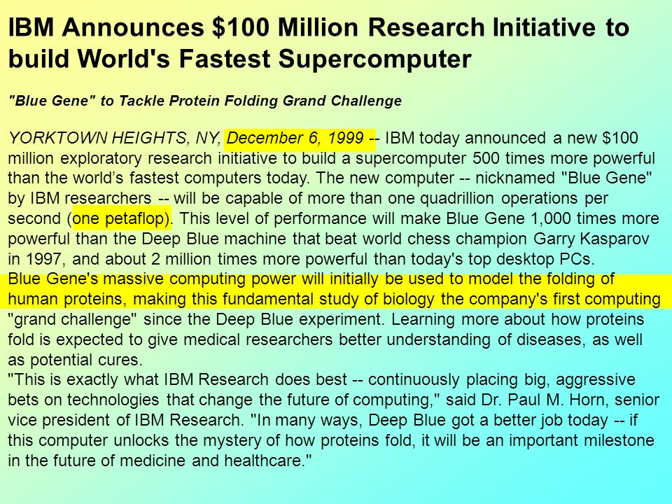 IBM Announces $100 Million Research Initiative to build World's Fastest Supercomputer