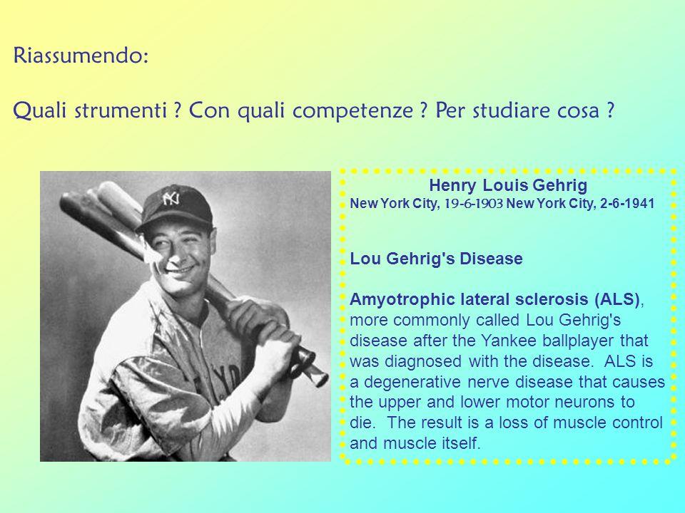 Riassumendo: Quali strumenti ? Con quali competenze ? Per studiare cosa ? Henry Louis Gehrig New York City, 19-6-1903 New York City, 2-6-1941 Lou Gehr