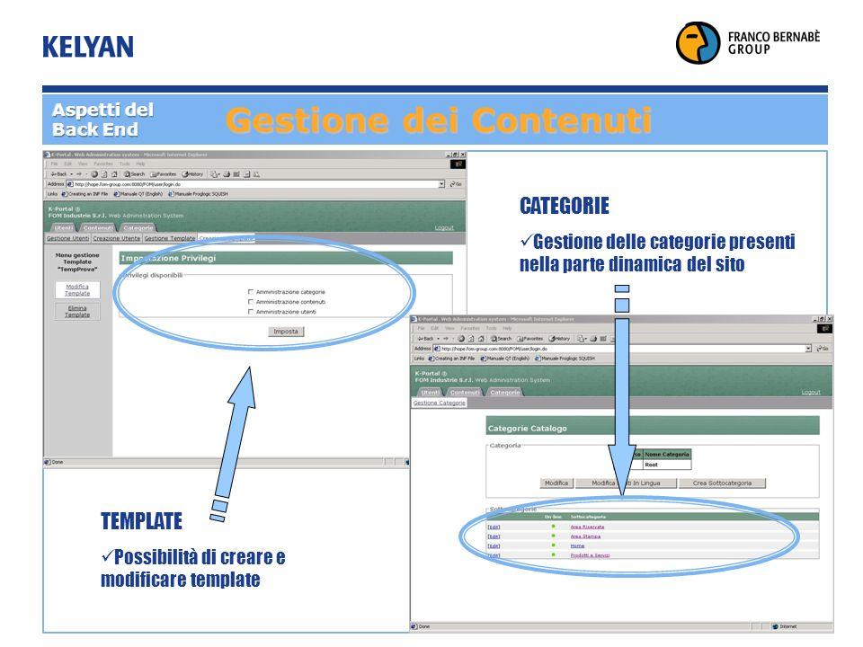 Gestione dei Contenuti TEMPLATE Possibilità di creare e modificare template CATEGORIE Gestione delle categorie presenti nella parte dinamica del sito