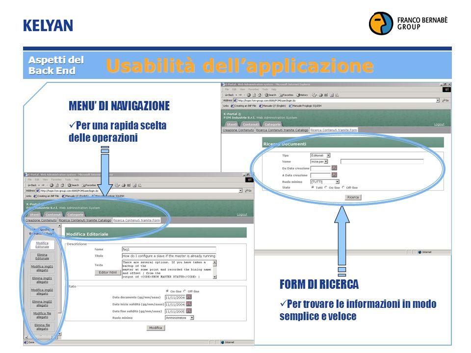 Usabilità dellapplicazione MENU DI NAVIGAZIONE Per una rapida scelta delle operazioni FORM DI RICERCA Per trovare le informazioni in modo semplice e veloce