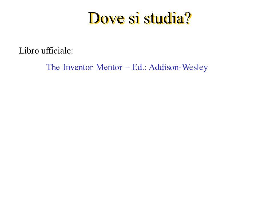 Dove si studia Libro ufficiale: The Inventor Mentor – Ed.: Addison-Wesley
