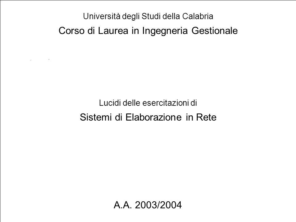 1 Lucidi delle esercitazioni di Sistemi di Elaborazione in Rete Università degli Studi della Calabria Corso di Laurea in Ingegneria Gestionale A.A.
