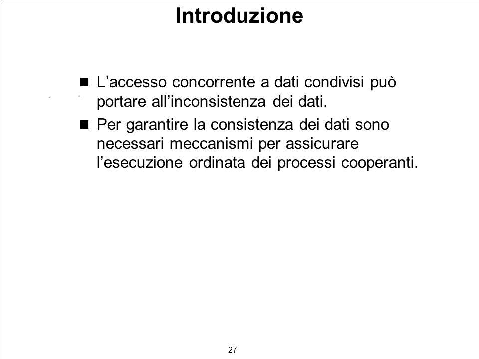 27 Introduzione Laccesso concorrente a dati condivisi può portare allinconsistenza dei dati.