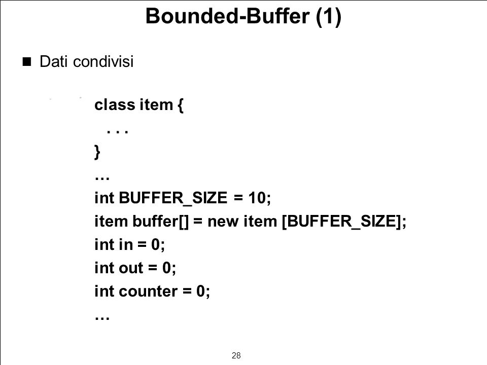 28 Bounded-Buffer (1) Dati condivisi class item {...