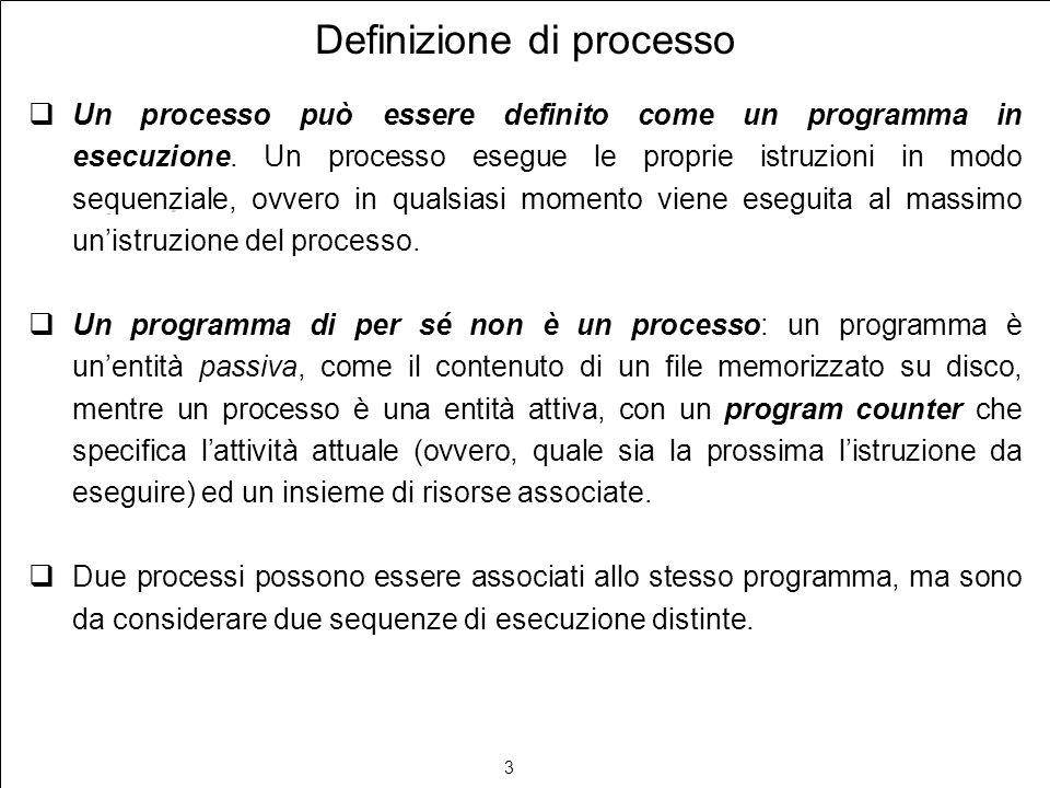 3 Definizione di processo Un processo può essere definito come un programma in esecuzione. Un processo esegue le proprie istruzioni in modo sequenzial