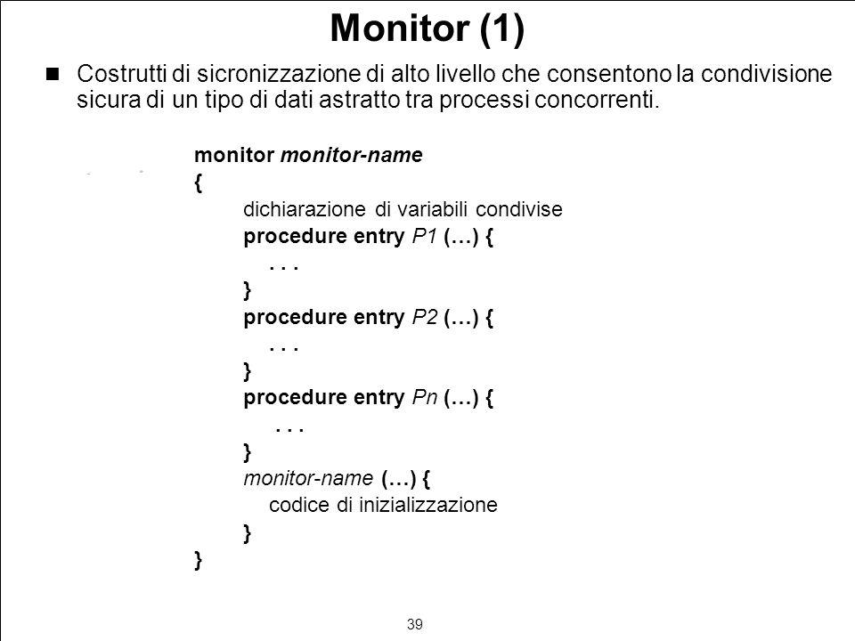 39 Monitor (1) Costrutti di sicronizzazione di alto livello che consentono la condivisione sicura di un tipo di dati astratto tra processi concorrenti.