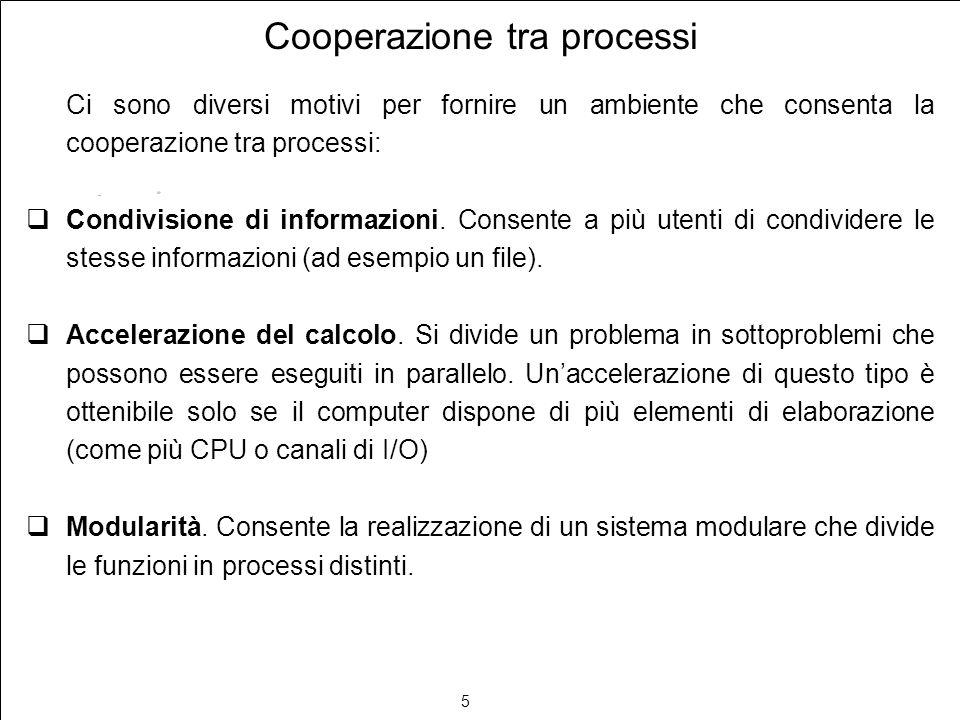 5 Cooperazione tra processi Ci sono diversi motivi per fornire un ambiente che consenta la cooperazione tra processi: Condivisione di informazioni. Co