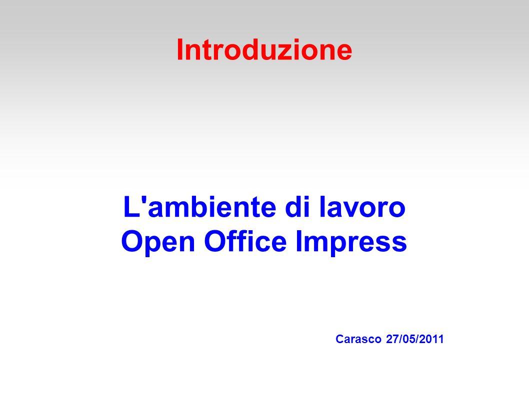 Introduzione L ambiente di lavoro Open Office Impress Carasco 27/05/2011