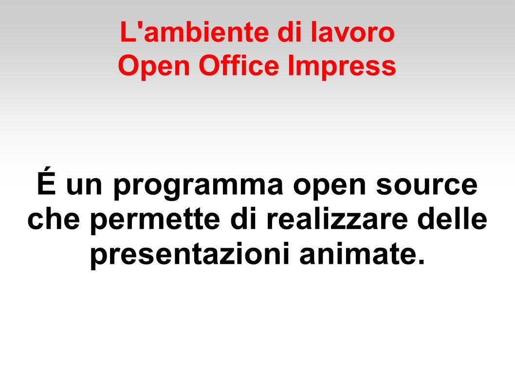 L ambiente di lavoro Open Office impress Che cos è una presentazione È una relazione che viene proposta a un pubblico, accompagnata dalla proiezione di diapositive in sequenza.