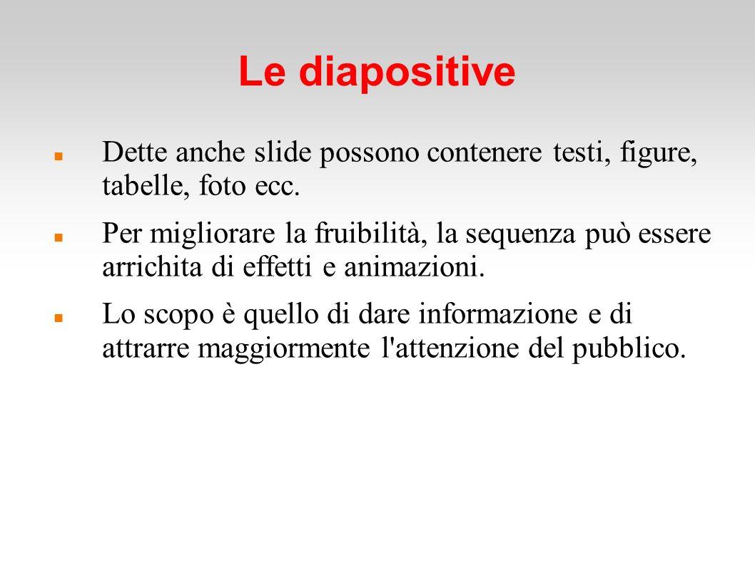 Le diapositive Dette anche slide possono contenere testi, figure, tabelle, foto ecc.