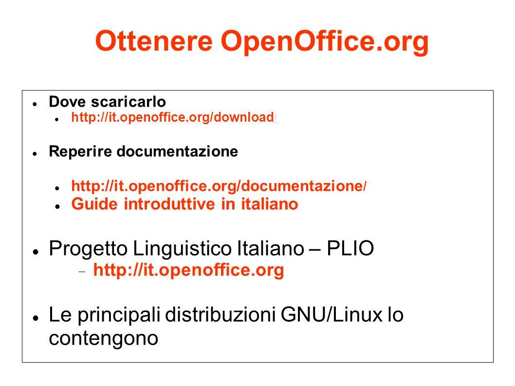 Ottenere OpenOffice.org Dove scaricarlo http://it.openoffice.org/download / / Reperire documentazione http://it.openoffice.org/documentazione / Guide