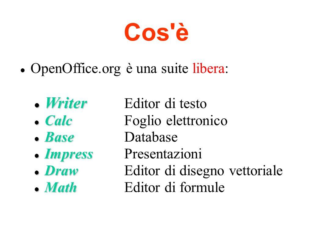 Cos'è OpenOffice.org è una suite libera: Writer Writer Editor di testo Calc Calc Foglio elettronico Base Base Database Impress Impress Presentazioni D