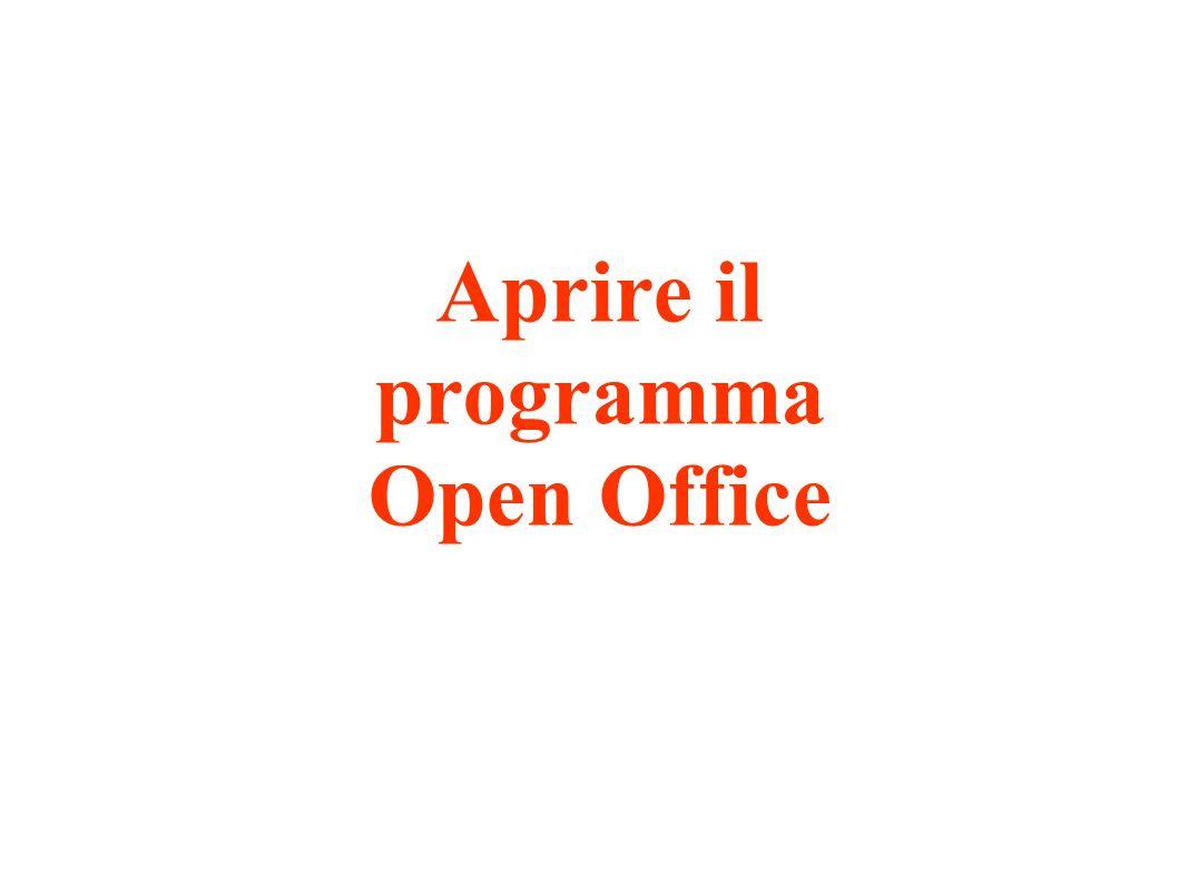 Aprire il programma Open Office