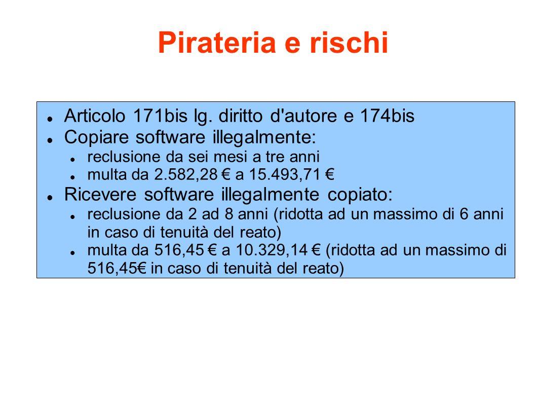Pirateria e rischi Articolo 171bis lg. diritto d'autore e 174bis Copiare software illegalmente: reclusione da sei mesi a tre anni multa da 2.582,28 a
