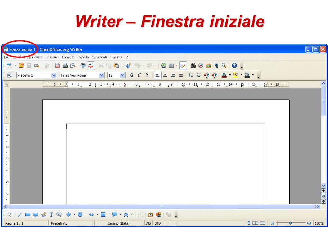 Aprire lapplicativo writer e creare un nuovo documento