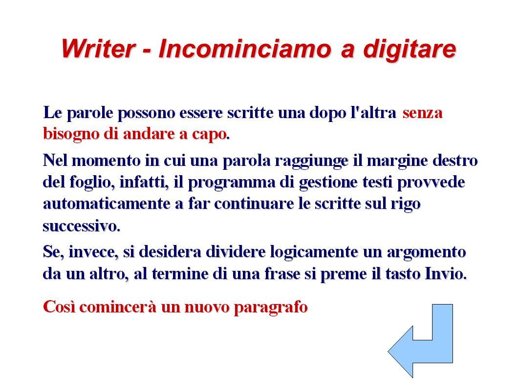 Writer - Incominciamo a digitare