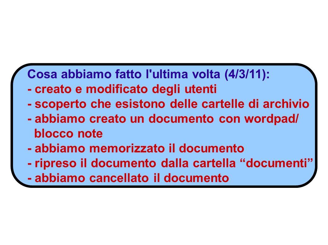 Cosa abbiamo fatto l ultima volta (4/3/11): - creato e modificato degli utenti - scoperto che esistono delle cartelle di archivio - abbiamo creato un documento con wordpad/ blocco note - abbiamo memorizzato il documento - ripreso il documento dalla cartella documenti - abbiamo cancellato il documento