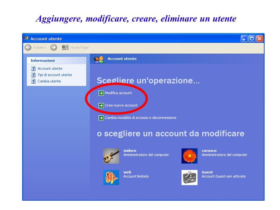 Aggiungere, modificare, creare, eliminare un utente