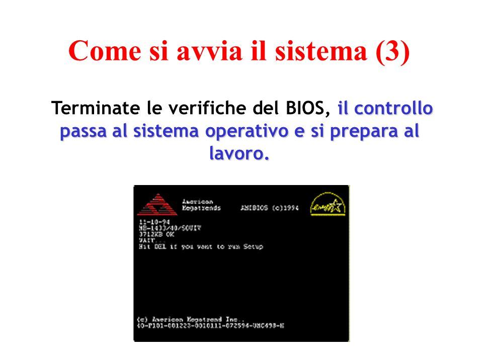 il controllo passa al sistema operativo e si prepara al lavoro.