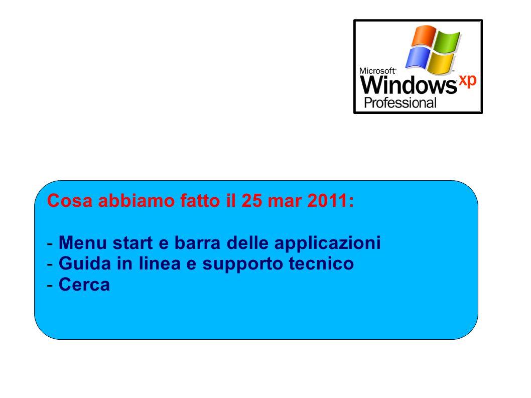 Cosa abbiamo fatto il 25 mar 2011: - Menu start e barra delle applicazioni - Guida in linea e supporto tecnico - Cerca
