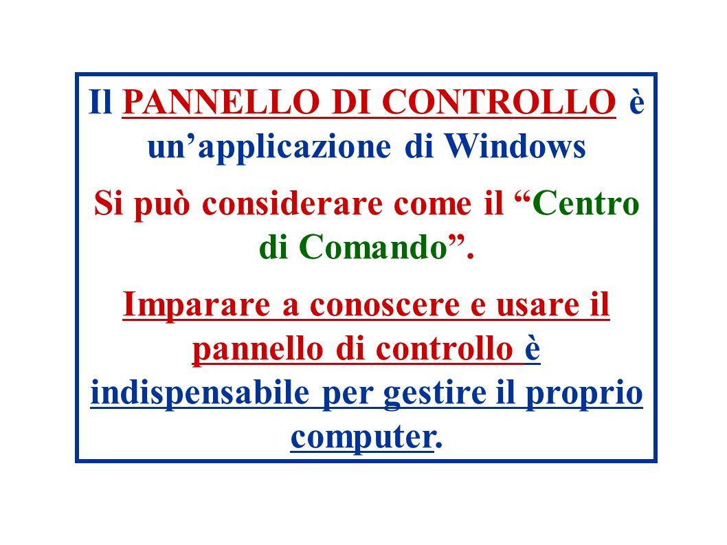 Il PANNELLO DI CONTROLLO è unapplicazione di Windows Si può considerare come il Centro di Comando.