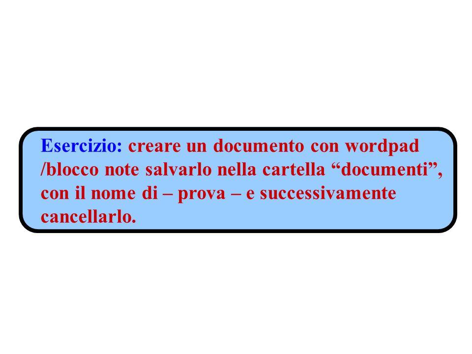 Esercizio: creare un documento con wordpad /blocco note salvarlo nella cartella documenti, con il nome di – prova – e successivamente cancellarlo.