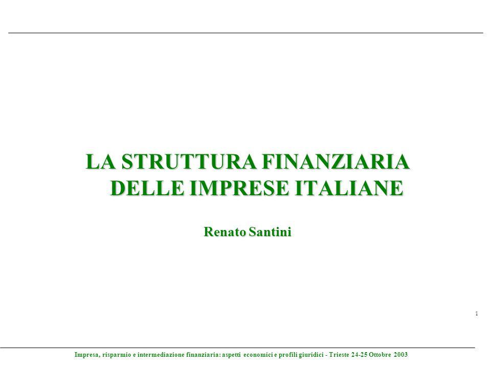 Impresa, risparmio e intermediazione finanziaria: aspetti economici e profili giuridici - Trieste 24-25 Ottobre 2003 1 LA STRUTTURA FINANZIARIA DELLE
