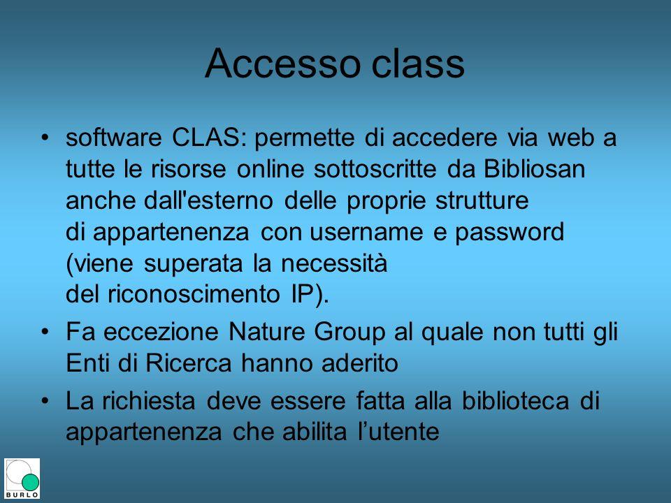Accesso class software CLAS: permette di accedere via web a tutte le risorse online sottoscritte da Bibliosan anche dall'esterno delle proprie struttu