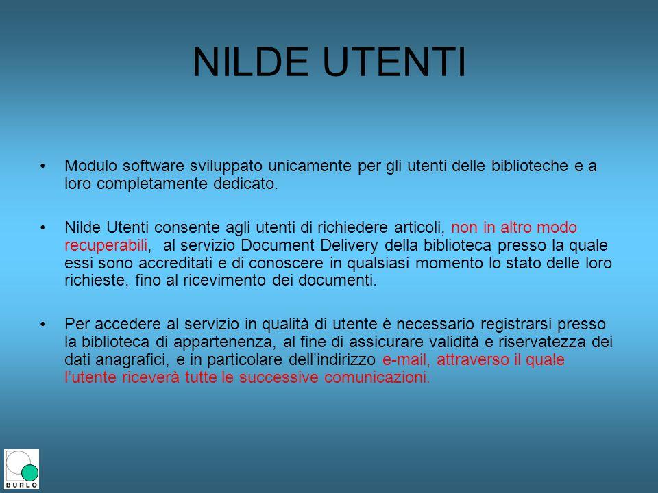 NILDE UTENTI Modulo software sviluppato unicamente per gli utenti delle biblioteche e a loro completamente dedicato. Nilde Utenti consente agli utenti