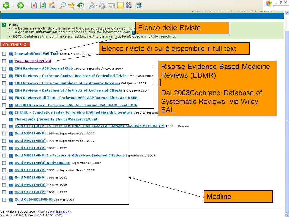 Elenco delle Riviste Elenco riviste di cui è disponibile il full-text Risorse Evidence Based Medicine Reviews (EBMR) Dal 2008Cochrane Database of Syst