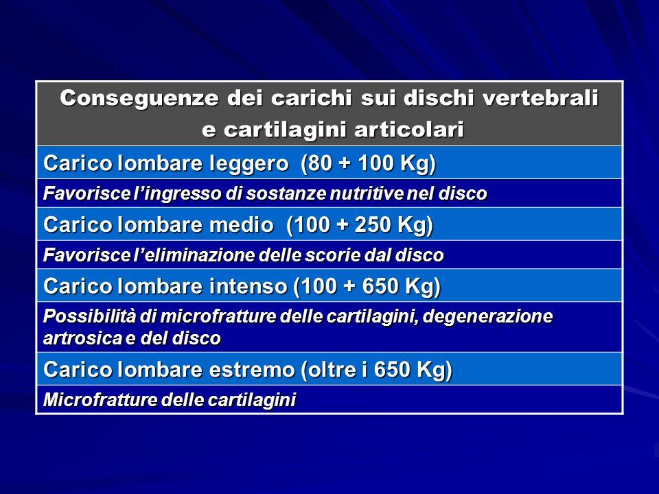 Conseguenze dei carichi sui dischi vertebrali e cartilagini articolari e cartilagini articolari Carico lombare leggero (80 + 100 Kg) Favorisce lingres