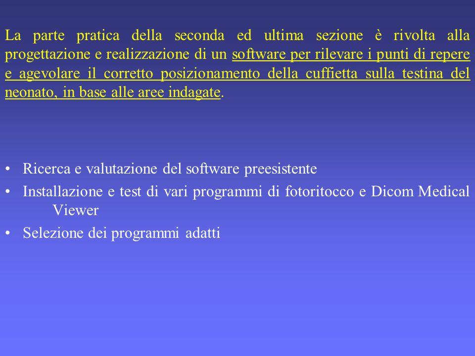 La parte pratica della seconda ed ultima sezione è rivolta alla progettazione e realizzazione di un software per rilevare i punti di repere e agevolar