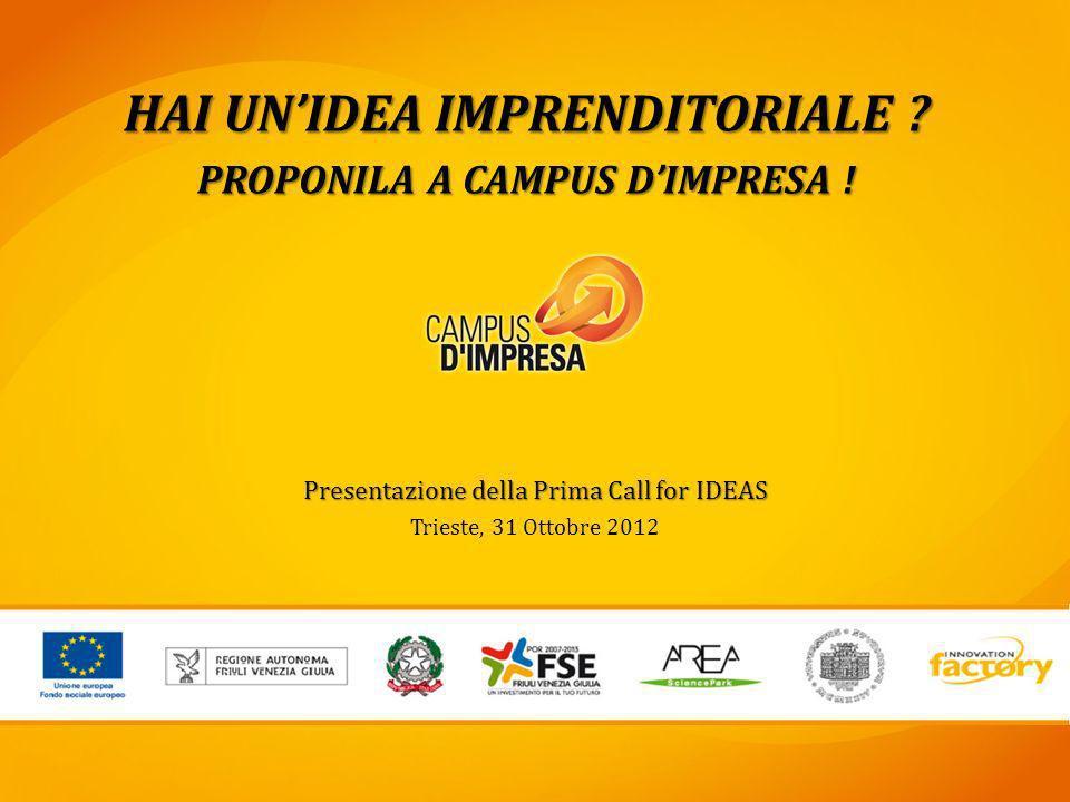 Presentazione della Prima Call for IDEAS Trieste, 31 Ottobre 2012 HAI UNIDEA IMPRENDITORIALE ? PROPONILA A CAMPUS DIMPRESA !