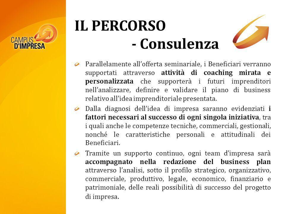 IL PERCORSO - Consulenza Parallelamente allofferta seminariale, i Beneficiari verranno supportati attraverso attività di coaching mirata e personalizz