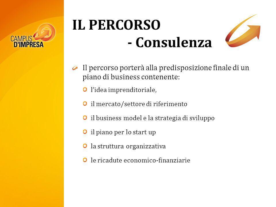 IL PERCORSO - Consulenza Il percorso porterà alla predisposizione finale di un piano di business contenente: lidea imprenditoriale, il mercato/settore