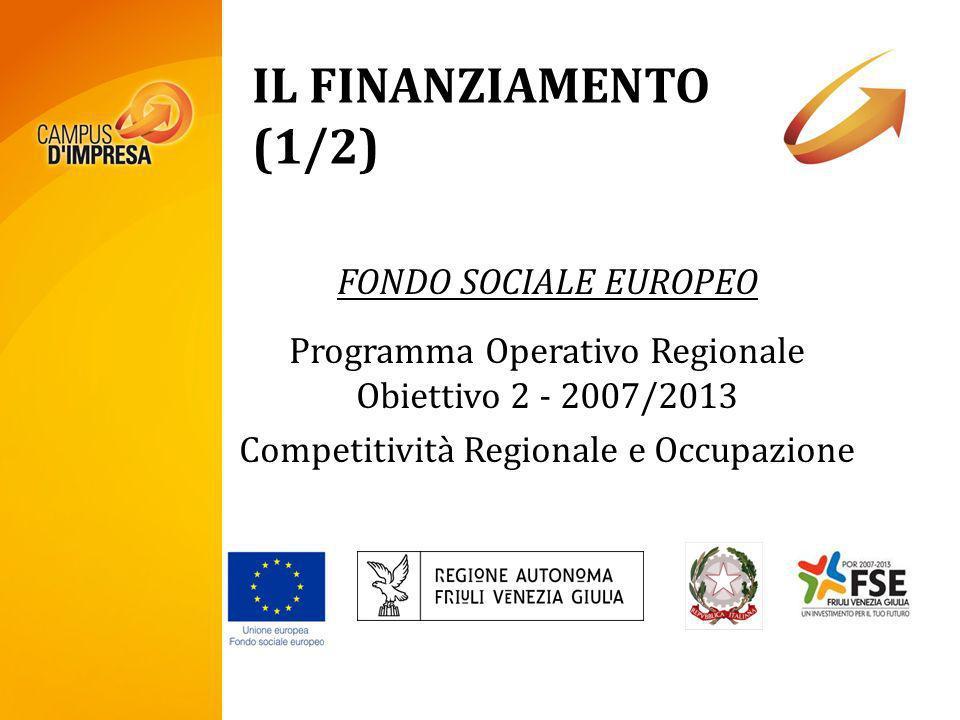 IL FINANZIAMENTO (1/2) FONDO SOCIALE EUROPEO Programma Operativo Regionale Obiettivo 2 - 2007/2013 Competitività Regionale e Occupazione