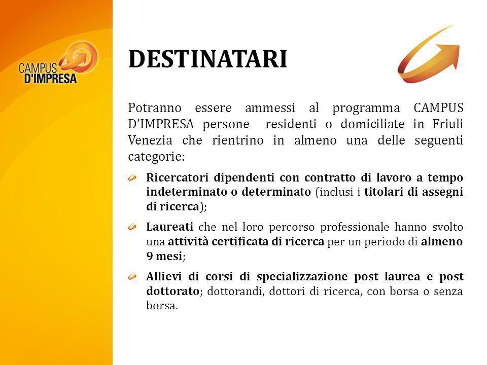 DESTINATARI Potranno essere ammessi al programma CAMPUS DIMPRESA persone residenti o domiciliate in Friuli Venezia che rientrino in almeno una delle s
