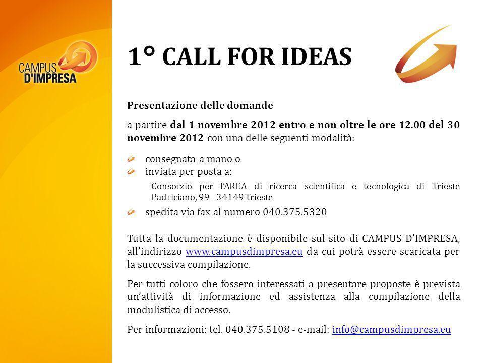 1° CALL FOR IDEAS Presentazione delle domande a partire dal 1 novembre 2012 entro e non oltre le ore 12.00 del 30 novembre 2012 con una delle seguenti