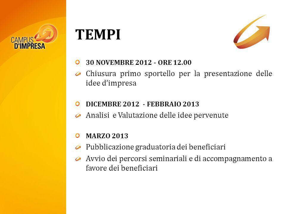 TEMPI 30 NOVEMBRE 2012 - ORE 12.00 Chiusura primo sportello per la presentazione delle idee dimpresa DICEMBRE 2012 - FEBBRAIO 2013 Analisi e Valutazio