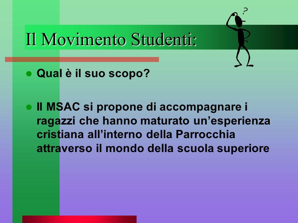 Il Movimento Studenti: Qual è il suo scopo? Il MSAC si propone di accompagnare i ragazzi che hanno maturato unesperienza cristiana allinterno della Pa