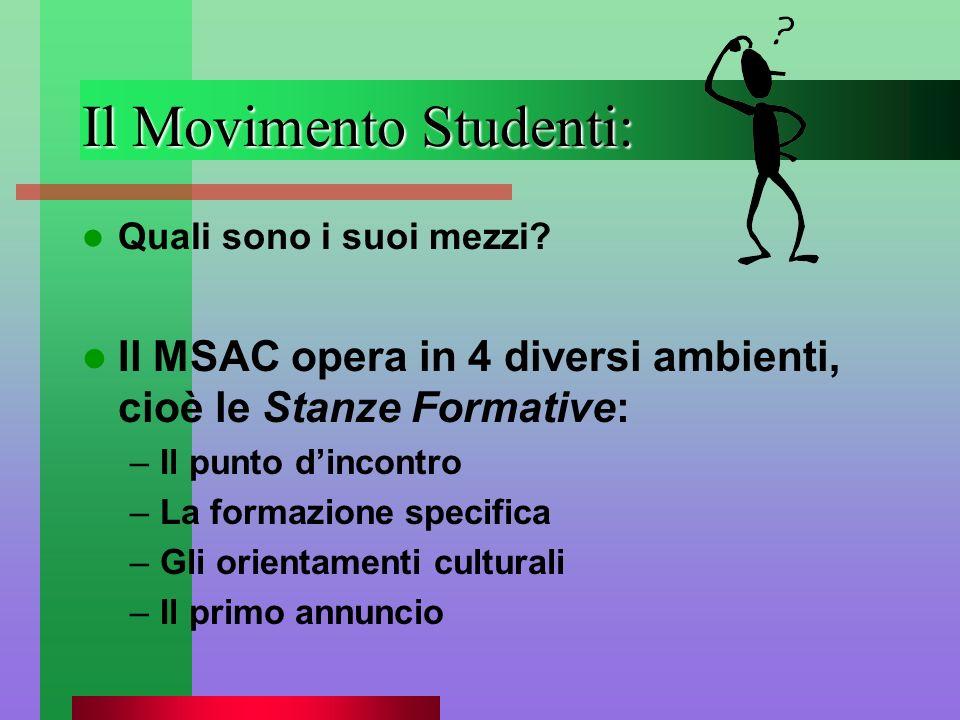 Il Movimento Studenti: Quali sono i suoi mezzi? Il MSAC opera in 4 diversi ambienti, cioè le Stanze Formative: –Il punto dincontro –La formazione spec
