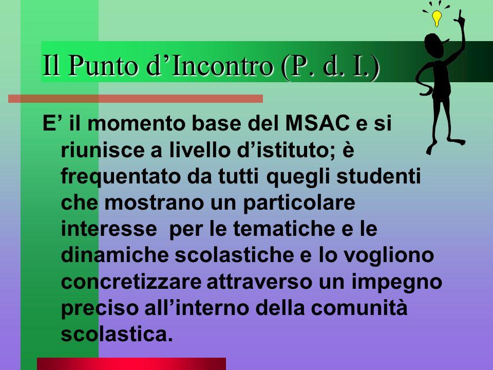 Il Punto dIncontro (P. d. I.) E il momento base del MSAC e si riunisce a livello distituto; è frequentato da tutti quegli studenti che mostrano un par