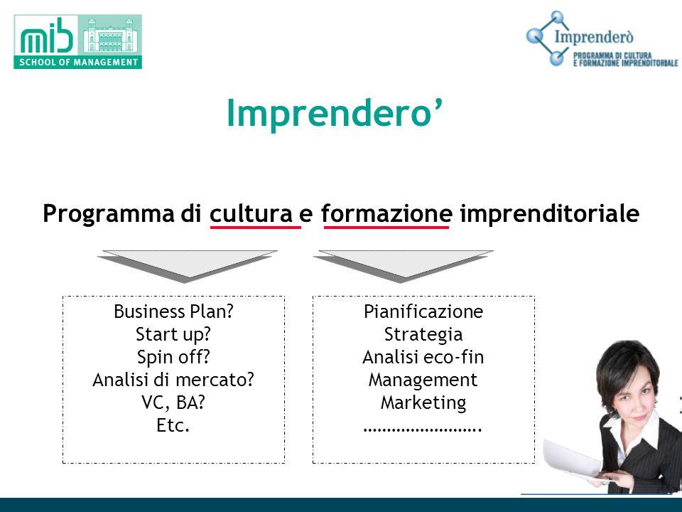Imprendero Programma di cultura e formazione imprenditoriale Business Plan? Start up? Spin off? Analisi di mercato? VC, BA? Etc. Pianificazione Strate
