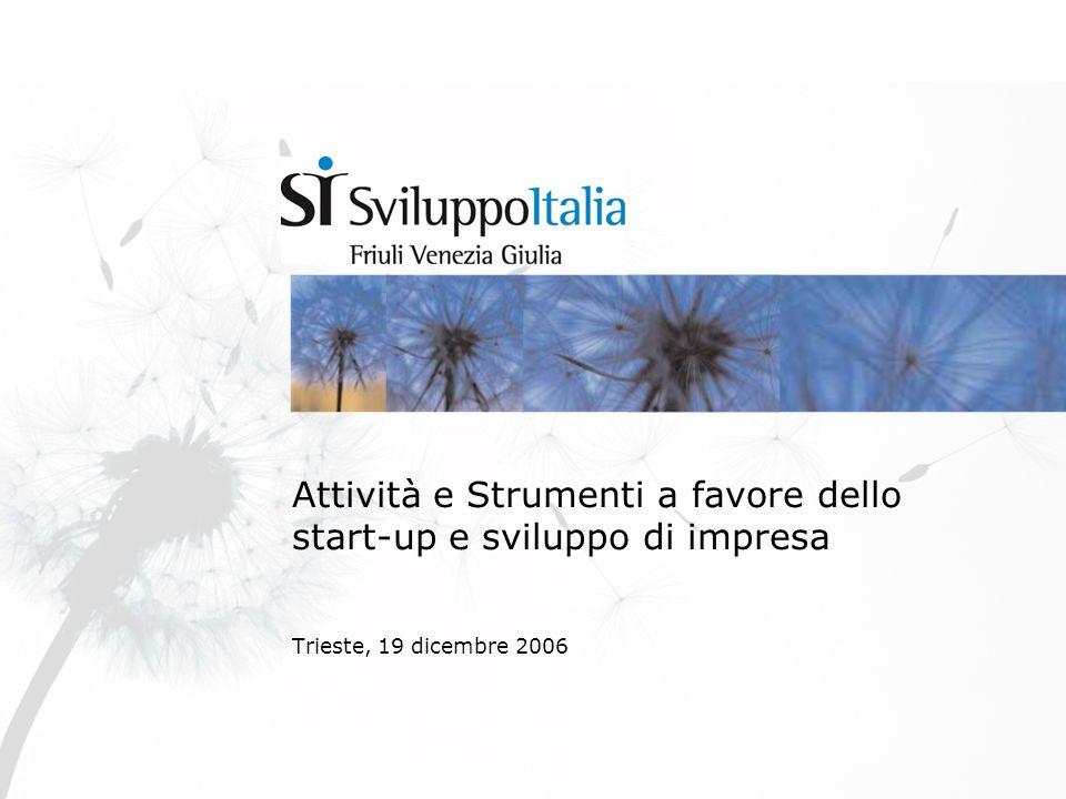 Attività e Strumenti a favore dello start-up e sviluppo di impresa Trieste, 19 dicembre 2006