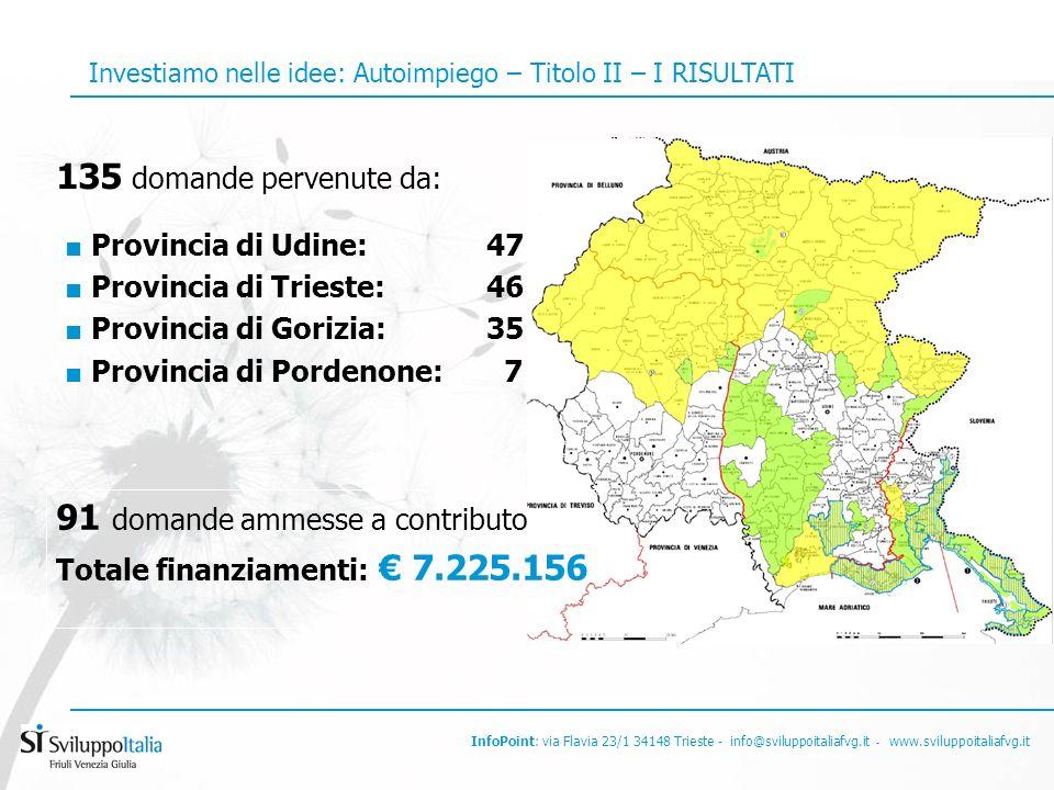 InfoPoint: via Flavia 23/1 34148 Trieste - info@sviluppoitaliafvg.it - www.sviluppoitaliafvg.it 135 domande pervenute da: Provincia di Udine:47 Provincia di Trieste: 46 Provincia di Gorizia: 35 Provincia di Pordenone: 7 91 domande ammesse a contributo Totale finanziamenti: 7.225.156 Investiamo nelle idee: Autoimpiego – Titolo II – I RISULTATI