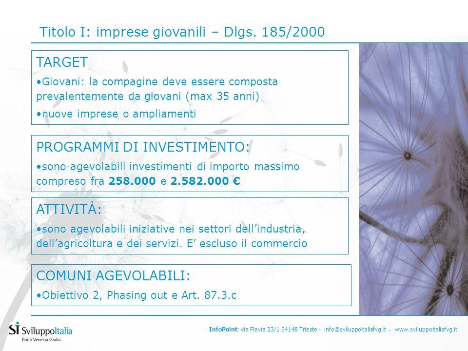 InfoPoint: via Flavia 23/1 34148 Trieste - info@sviluppoitaliafvg.it - www.sviluppoitaliafvg.it Titolo I: imprese giovanili – Dlgs.