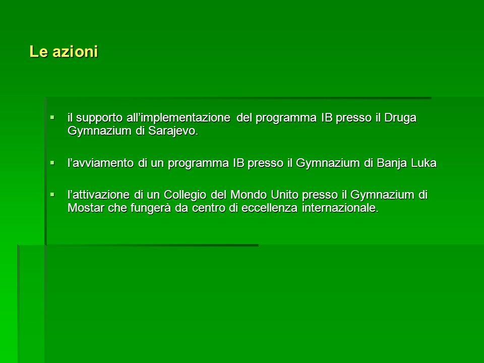 Le azioni il supporto allimplementazione del programma IB presso il Druga Gymnazium di Sarajevo.