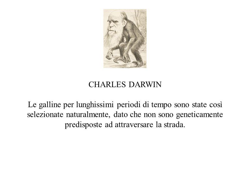 CHARLES DARWIN Le galline per lunghissimi periodi di tempo sono state così selezionate naturalmente, dato che non sono geneticamente predisposte ad at