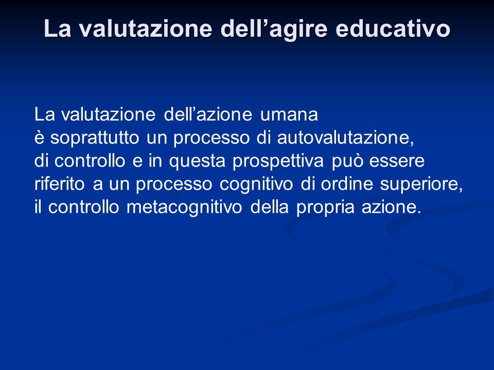 La valutazione dellagire educativo La valutazione dellazione umana è soprattutto un processo di autovalutazione, di controllo e in questa prospettiva